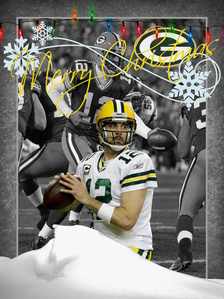 Aaron Rodgers Wall Art - Photograph - Green Bay Packers Christmas Card by Joe Hamilton