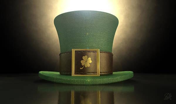 Gold Leaves Digital Art - Green Leprechaun Shamrock Hat by Allan Swart