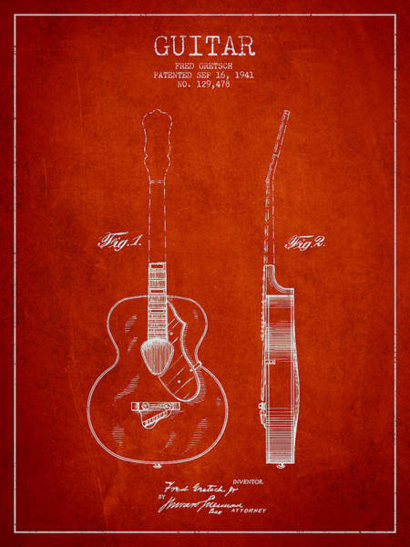 Wall Art - Digital Art - Gretsch Guitar Patent Drawing From 1941 - Red by Aged Pixel