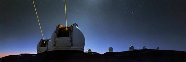 Laser Photograph - Guide Lasers Over Mauna Kea Observatories by Babak Tafreshi