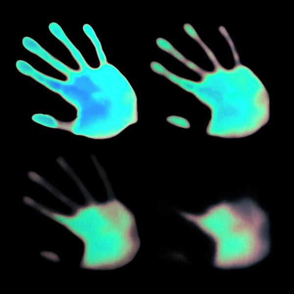 Impression Photograph - Hand Prints On Thermochromic Paper by Science Photo Library