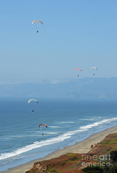 Above And Below Wall Art - Photograph - Hang Gliding In Daly City By The Pacific Ocean by Jim Fitzpatrick