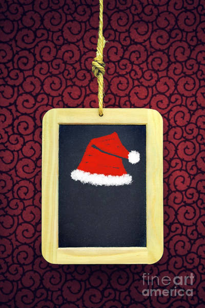 Black Cap Photograph - Hanged Xmas Slate - Santa's Cap by Carlos Caetano