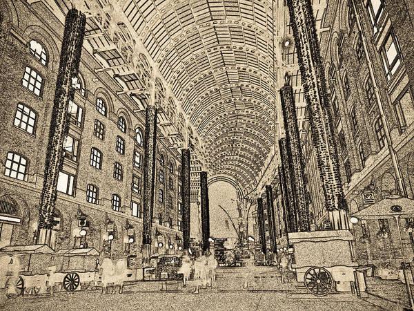 Hays Galleria Wall Art - Digital Art - Hays Galleria London Sketch by David Pyatt