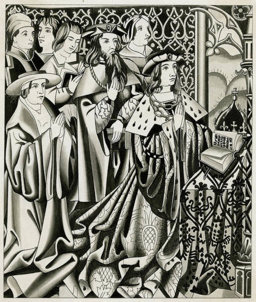 Wall Art - Drawing - Henry Vi And His Court At  Prayer by Mary Evans Picture Library
