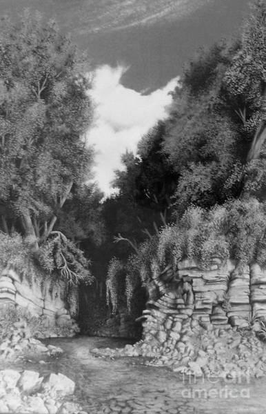 Drawing - Hidden Canyon by David Neace