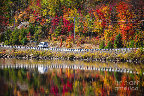 Scenic Highway Wall Art - Photograph - Highway Through Fall Forest by Elena Elisseeva