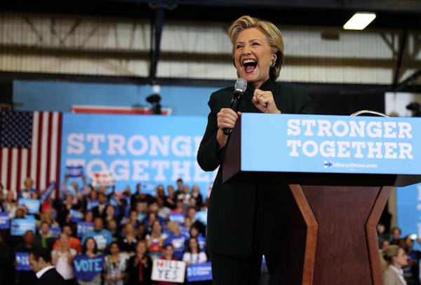 Democratic Party Photograph - Hillary Clinton Campaigns In Ohio Ahead by Justin Sullivan