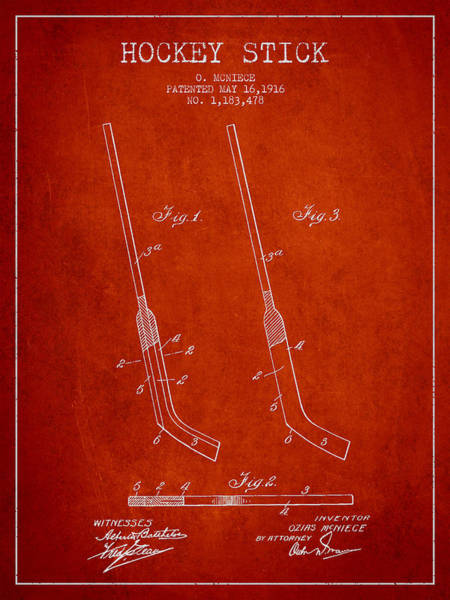 Hockey Sticks Digital Art - Hockey Stick Patent Drawing From 1916 by Aged Pixel