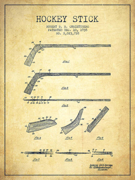 Exclusive Rights Wall Art - Drawing - Hockey Stick Patent Drawing From 1935 by Aged Pixel