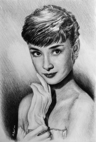 Nostalgia Drawing - Hollywood Greats Hepburn by Andrew Read