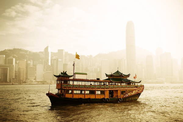 Photograph - Hong Kong Skyline With Boats by Songquan Deng