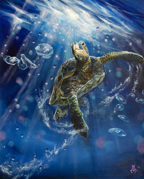 Turtle Painting - Honu's Dance by Marco Antonio Aguilar