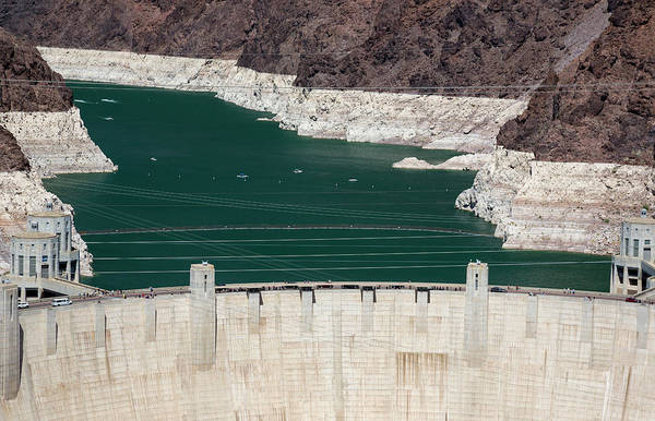 Wall Art - Photograph - Hoover Dam And Lake Mead During Drought by Jim West/science Photo Library