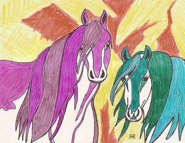 Teal Drawing - 2 Horses by Ray Ratzlaff