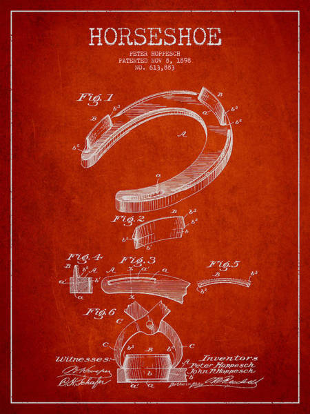 Horse Shoe Digital Art - Horseshoe Patent Drawing From 1898 by Aged Pixel