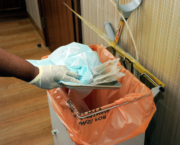 Wall Art - Photograph - Hospital Waste Disposal Routine by Public Health England/science Photo Library