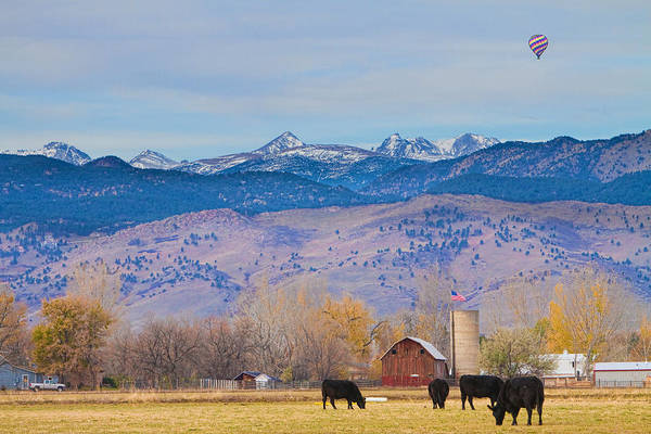 Photograph - Hot Air Balloon Rocky Mountain Country View by James BO Insogna