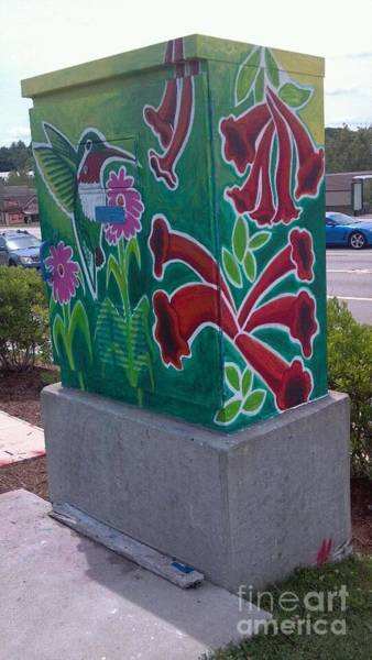 Traffic Signals Painting - Hummingbird Traffic Signal Box by Genevieve Esson