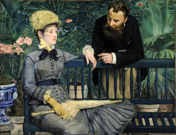 Manet Wall Art - Painting - In The Conservatory by Edouard Manet