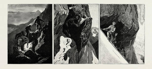 Wall Art - Drawing - Incidents Of Climbing In The High Alps by Litz Collection