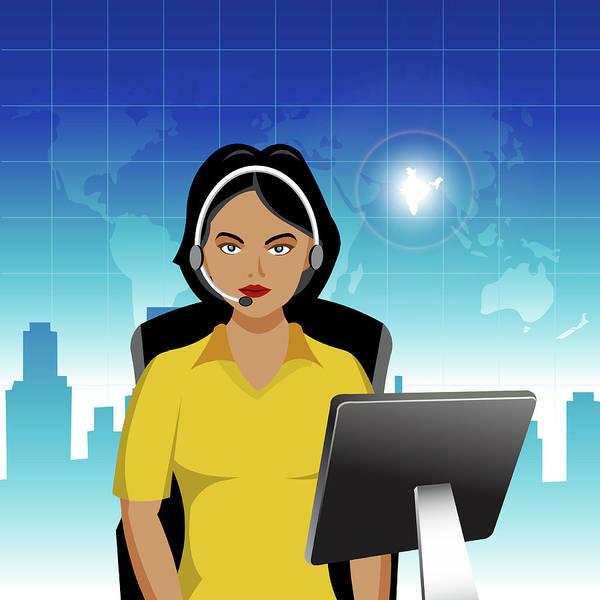 Call Building Photograph - Indian Customer Service Representative by Fanatic Studio / Science Photo Library