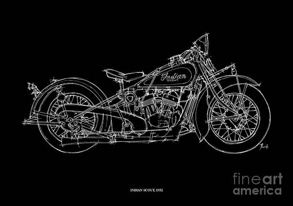 1932 Wall Art - Drawing - Indian Scout 1932 by Drawspots Illustrations