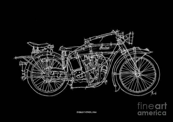 Twins Painting - Indian V Twin 1914 by Drawspots Illustrations