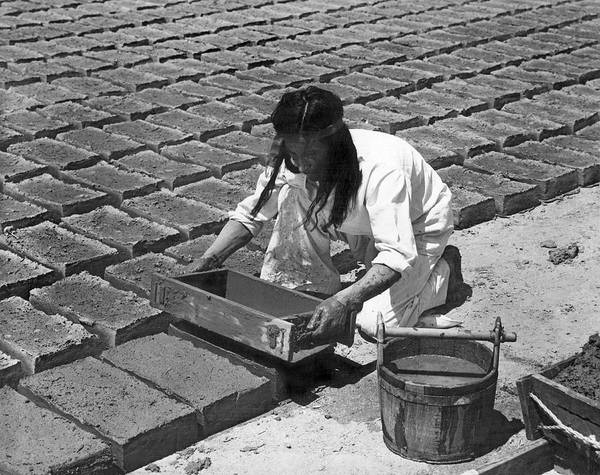 Photograph - Indians Making Adobe Bricks by Underwood Archives