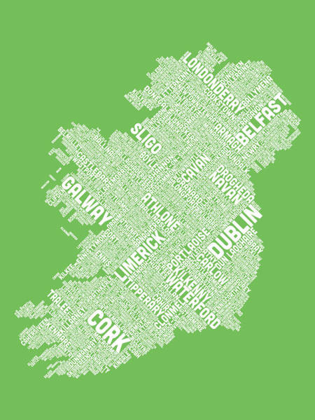Eire Digital Art - Ireland Eire City Text Map by Michael Tompsett