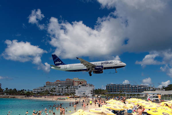 Gleeson Photograph - jetBlue landing at St. Maarten by David Gleeson