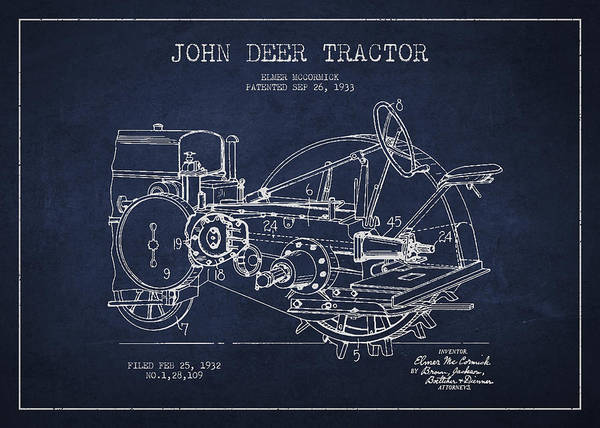 Farming Digital Art - John Deer Tractor Patent Drawing From 1933 by Aged Pixel