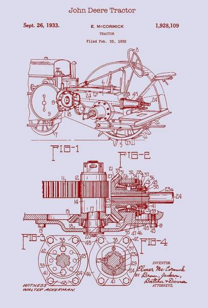 Old Tractor Drawing - John Deere Tractor Patent 1933 by Mountain Dreams