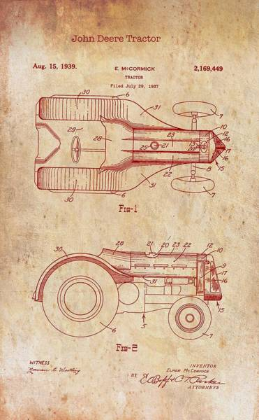 Old Tractor Drawing - John Deere Tractor Patent 1939 by Mountain Dreams