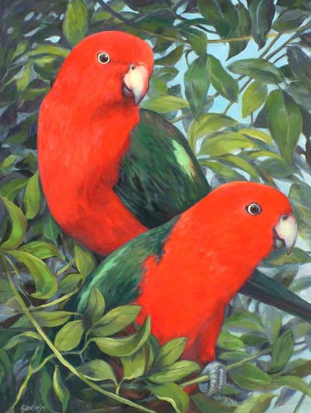 Wall Art - Painting - King Parrots   by Ekaterina Mortensen