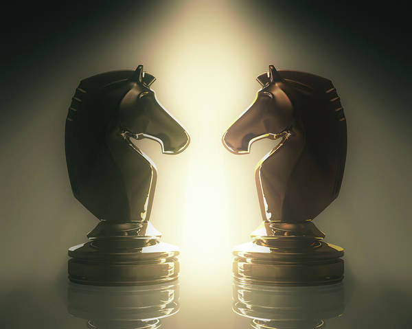 Brighter Side Photograph - Knight Chess Pieces by Ktsdesign