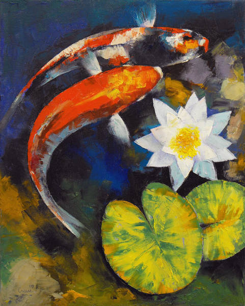 Wall Art - Painting - Koi Fish And Water Lily by Michael Creese