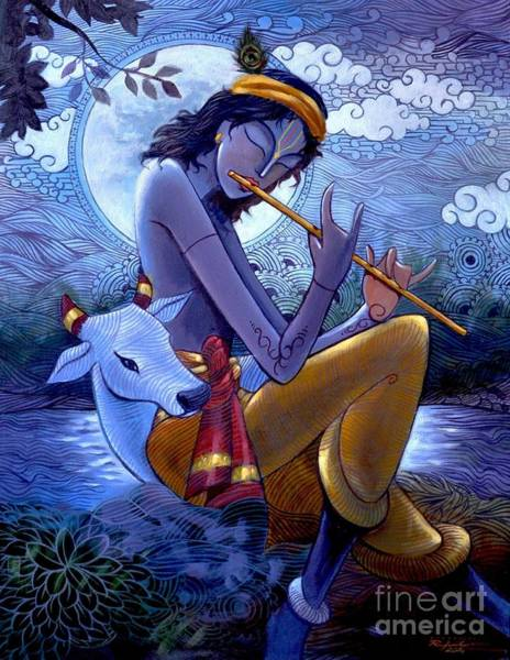 Indian God Painting - Krishna by Rajesh babu Ponnayyan