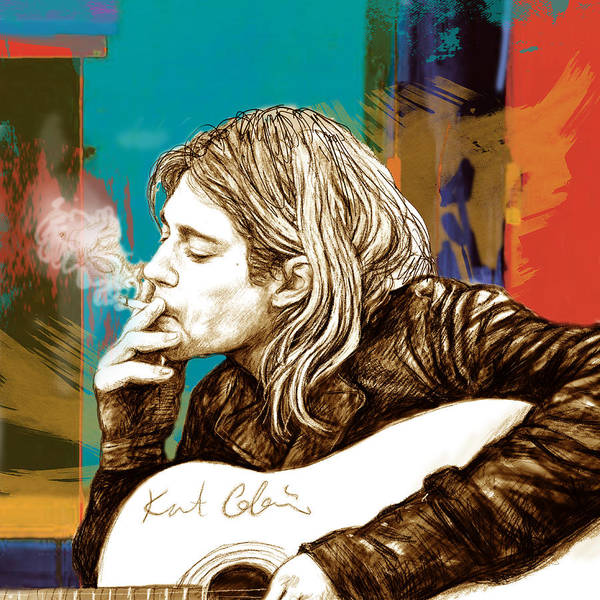 Charcoal Painting - Kurt Cobain Stylised Pop Morden Art Drawing Sketch Portrait by Kim Wang