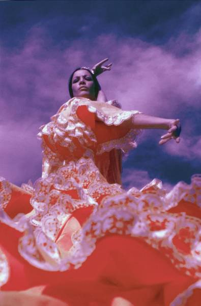 Iberian Peninsula Photograph - La Contrahecha Wearing A Ruffled Dress by Raymundo de Larrain