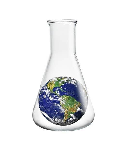 Wall Art - Photograph - Laboratory Flask With Planet Earth by Victor De Schwanberg/science Photo Library