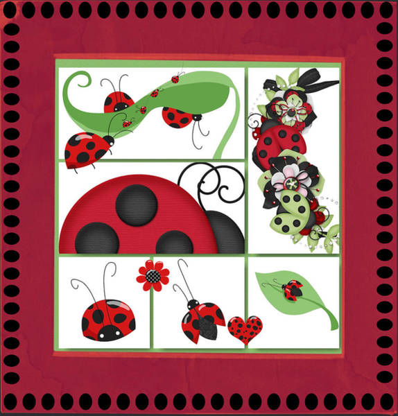 Digital Art - Ladybugs by Debra  Miller