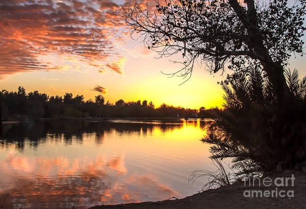 Yuma Photograph - Lake Sunset by Robert Bales