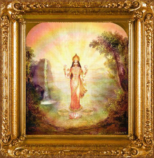 Wall Art - Mixed Media - Lakshmi With The Waterfall by Ananda Vdovic