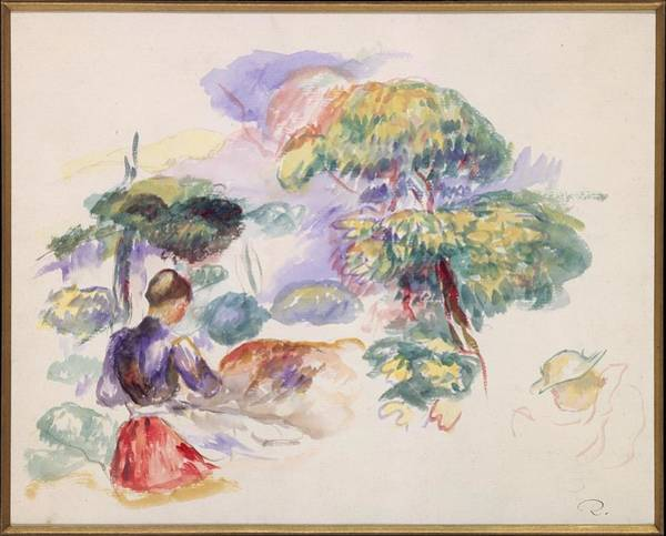 Mat Drawing - Landscape With A Girl by Auguste Renoir