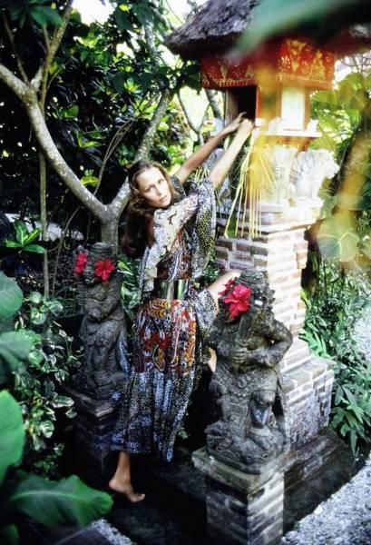 Ornamental Plant Photograph - Lauren Hutton Wearing A Paisley Dress by Arnaud de Rosnay