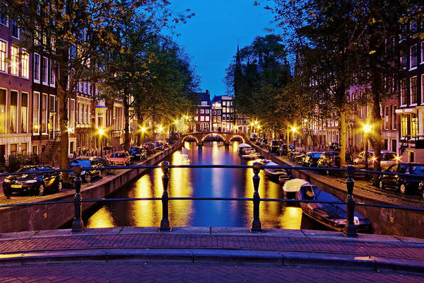 Photograph - Leidsegracht Canal At Night / Amsterdam by Barry O Carroll