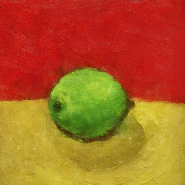 Wall Art - Painting - Lime With Red And Gold by Michelle Calkins