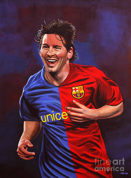 Football Players Wall Art - Painting - Lionel Messi  by Paul Meijering