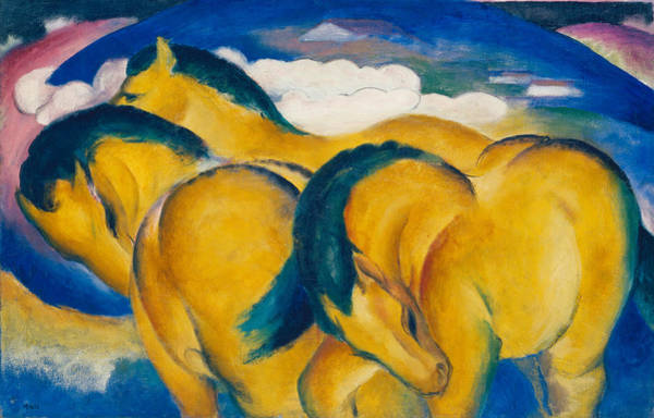 Modernism Painting - Little Yellow Horses by Franz Marc